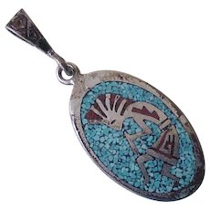 Native American Kokopelli Pendant Sterling Silver Turquoise & Coral Chip Inlay