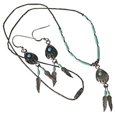 Native American Bear Claw Necklace & Dangle Earrings Sterling Silver & Turquoise