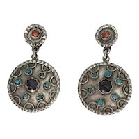 Taxco Vintage Dangle Earrings Sterling Silver, Amethyst, Turquoise & Coral