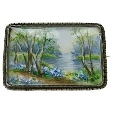Victorian Era Miniature Painting Landscape Brooch Sterling Silver TLM c.1880-90