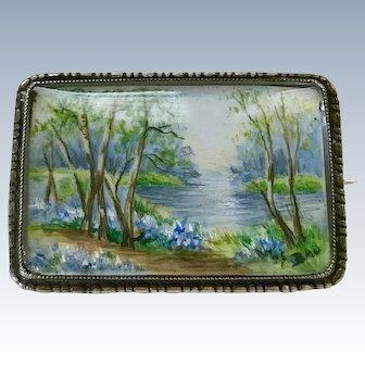 Victorian Era Miniature Painting Landscape Brooch Sterling Silver TLM c.1880-90