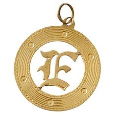 E Letter / Initial Vintage Charm 14K Gold Old English Font