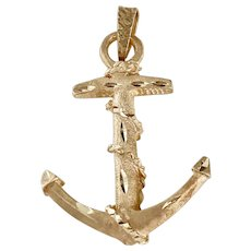 Big SOLID Rope Fouled Anchor Vintage Pendant 14K Gold Three-Dimensional