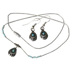 Native American Bear Claw Necklace and Earrings Set Sterling Silver & Turquoise