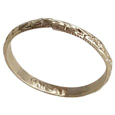 Vintage Baby Ring 10K Yellow Gold Embossed Floral Design size 00