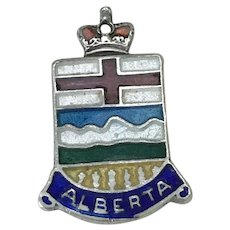 Alberta Canada Vintage Charm Colorful Glass Enamel Sterling Silver