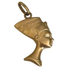Nefertiti Egyptian Queen Vintage Charm 14K Gold circa 1960-70's Reversible