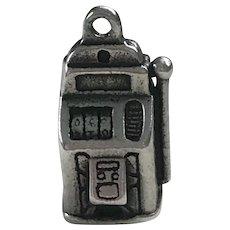Slot Machine Vintage Charm Sterling Silver Three-Dimensional