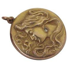 Art Nouveau Locket Pendant Gold Filled Faux Diamond Accent