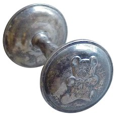 Sterling Silver Baby Rattle by Lunt, Teddy Bear Dumbbell