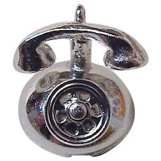 Telephone Charm Three-Dimensional Sterling Silver by Danecraft circa 1960's