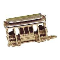 Vintage Solid 14K Gold Travel / Transportation Charm, Trolley Three Dimensional circa 1960's