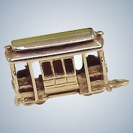 Vintage Solid 14K Gold Travel / Transportation Charm, Trolley Three Dimensional circa 1960's