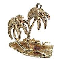 Big Vintage Tropical Island Charm 14k Gold circa 1960's Three Dimensional