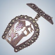 Georgian Brooch ~ Scottish, Hunt Motif, Stag & Thistle Inside Marcasite Encrusted Horseshoe