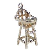 Vintage 14k Gold Moving Charm, Highchair, Three Dimensional circa 1950-60's