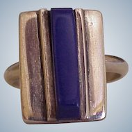 Hand Crafted Mexico Ring Sterling Silver Lapis-Lazuli circa 1980's