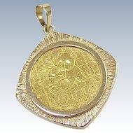 Vintage Fine Gold Panda Coin 1989 in 14K Gold Pendant Frame
