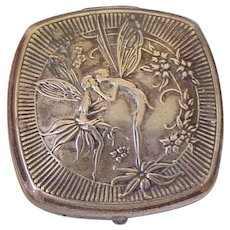 French Djer-Kiss Kissing Fairies Powder Compact Art Nouveau Silver Plate