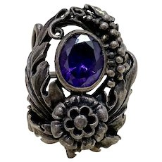 Aesthetic Arts & Crafts Style Vintage Ring Sterling Silver Faux Alexandrite