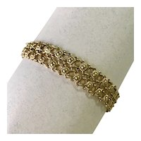 Vintage Bracelet 18K Gold Floral Link Double Row 10.66 Grams