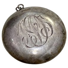 Mirrored Compact Antique Pendant Sterling Silver 1915