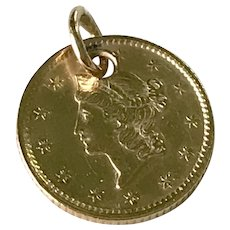 Antique 1854 US $1 GOLD Coin / Charm