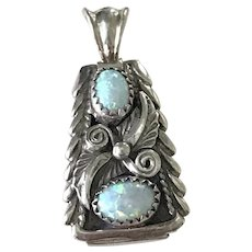Native American Crafted Pendant Sterling Silver & Opal
