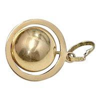 Spinning Orb or Globe Vintage Charm 18K Gold Three-Dimensional