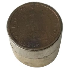 India Vintage Rare Coin 1 Pice Vintage Pill / Snuff Box 1955