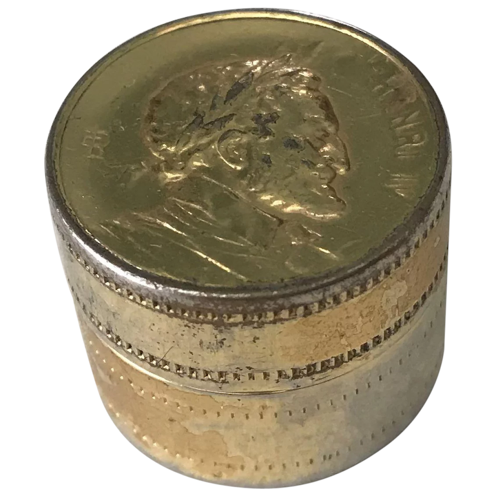 Vintage Pill / Snuff Box Made In France Gold Plate Enamel
