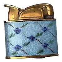 Rare Vintage Evans Ladies Petite Pocket Lighter Glass Enamel Gold Tone