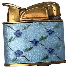 Rare Vintage Evans Ladies Petite Pocket Lighter Glass Enamel Gold Tone