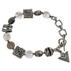 Retired Silpada Bracelet Sterling Silver, Crystal & Smoky Quartz, Logo Charm
