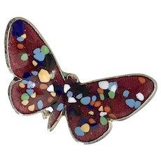 Vintage Butterfly Pin Colorful Fire-Glazed Glass Enamel 12K GF