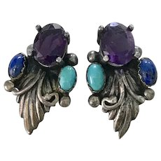 Native American Crafted Earrings Amethyst, Lapis & Turquoise