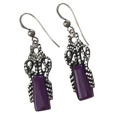Native American Crafted Dangle Earrings Sterling Silver & Sugilite