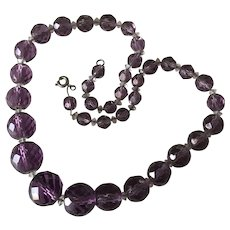 Mid Century Faceted Amethyst Glass Crystal Necklace, Graduated Strand