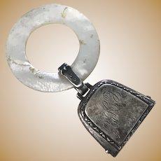 Edwardian Era Baby Rattle / Bell Teething Ring Sterling Silver MOP