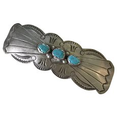 Navajo Crafted Hat Badge Pin Sterling Silver & Turquoise