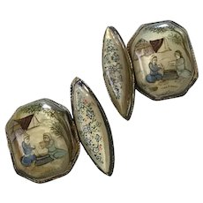 Hand Painted Cuff Links Sterling Silver Mother of Pearl circa 1900-10