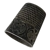 Antique Sewing Thimble Sterling Silver engraved