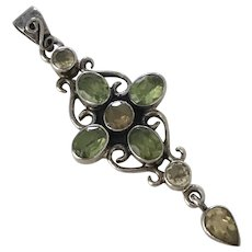Colorful Jeweled Pendant Sterling Silver, Peridot, Citrine & Smoky Quartz