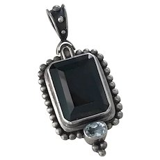 Vintage Gemstone Pendant Sterling Silver Smoky Quartz & Blue Topaz