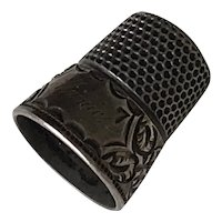 """Antique Sewing Thimble Sterling Silver """"Mamie"""" Engraved"""