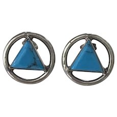 Vintage Statement STUD Earrings Sterling Silver & Faux Turquoise