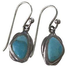 Vintage Dangle Earrings Sterling Silver & Turquoise