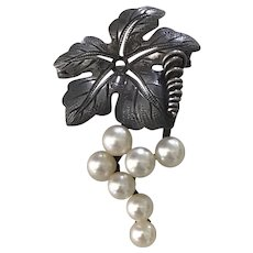 Grape Bunch Vintage Brooch Sterling Silver Cultured Pearl