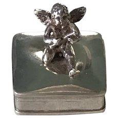 Cherub Topped Trinket Box Sterling Silver