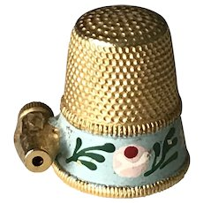 Vintage Sewing Thimble Gold Tone Hand Painted
